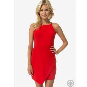 Tight bodycon asymmetrical red cocktail dress